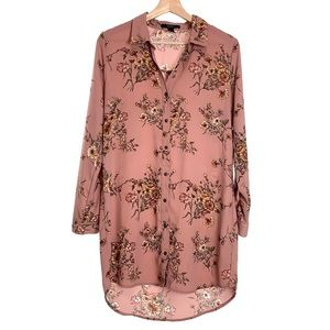 Forever 21 Button Down Pink Floral Dress Medium
